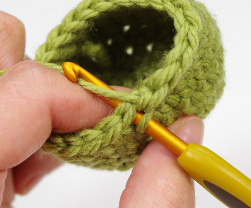 crocheting two single crochet stitches together
