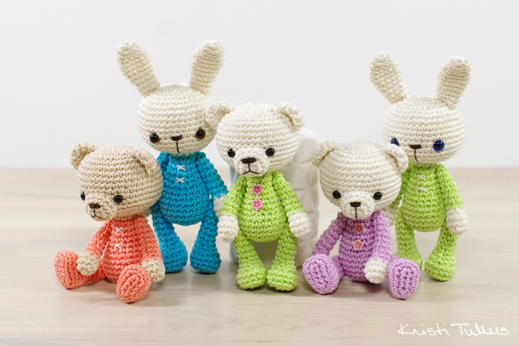 Small amigurumi bunny and bear pattern // Kristi Tullus (spire.ee)
